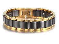 Wholesale Ceramic Magnetic Bracelets Black - Healing Energy Magnetic Hematite Bracelet Bangle Gold Color Stainless Steel Hand Chain Link Black Ceramic Bracelet Men Gift B870S