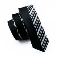 Wholesale Korean Casual Suits For Men - Korean Fashion Slim Skinny Narrow Tie Jacquard Woven Black Stripes Neckties For Men Wedding Party Groom Casual Suit Ties E-255