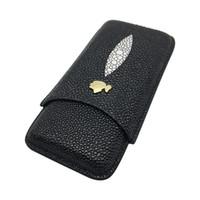 puro gadget'ları hediye toptan satış-Yüksek kaliteli COHIBA Alet Yeni Siyah Puro Kılıfı 3 Tüpler ile Taşınabilir Seyahat Puro Neme Hediye Kutusu