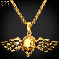 Wholesale Unique Wings - unique New Fashion Skull Pendant With Punk Stainless Jewelry Men Jewelry 18K Gold Plated Vintage Wing Necklace Antique Jewelry P816