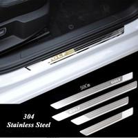 plaques de porte en acier inoxydable achat en gros de-Seuil de porte ultra-mince en acier inoxydable pour plaque de protection pour Vw Golf 7 MK7 Golf 6 MK6 Bienvenue Accessoires de voiture de seuil de pédale 2011-2015