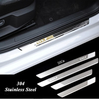 vw eşikleri toptan satış-Ultra-ince Paslanmaz Çelik Itişme Plaka Kapı Eşiği Vw Golf 7 MK7 Golf 6 MK6 Hoşgeldiniz Pedal Eşik Araba Aksesuarları 2011-2015