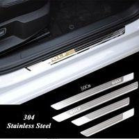 edelstahl tür vw großhandel-Ultradünne Edelstahl-Verschleißplatte Türschwelle für Vw Golf 7 MK7 Golf 6 MK6 Willkommen Pedal Schwelle Autozubehör 2011-2015