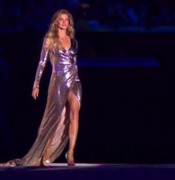 Wholesale Olympics Opening - 2017 Gisele Bundchen Long Sleeve Sequins Evening Dresses Olympic Opening Red Carpet Celebrity Dresses Front Split Runway Pageant Dresses