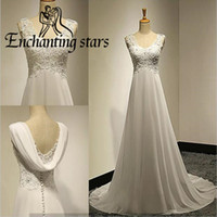 Wholesale Sheer Beach Covers - 2017 Flutter Chiffon Wedding Dresses Covered Button Back Sheer Cap Sleeves Beach Bridal Party Dress Real Photos Vintage A-Line Bridal Gowns