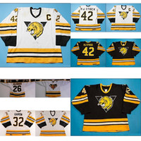 Wholesale Pj S - Customize QMJHL Victoriaville Tigres 32 Mathieu Garon 42 PJ Stock Mens Womens Kids Black White Hockey Cheap Jerseys Goalit Cut