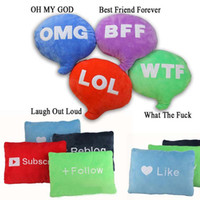 Wholesale Cushion Words - Emoji Cute Cuddle Words Decorative Pillow Letter Cushion Stuffed Doll Plush Toy Funny Twitter LOL WTF OMG Pillow Christmas Gift for Adult