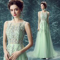Wholesale Mint Prom Dressed - 2017 Real Photos Mint A Line Illusion Bodice Vestidos De Noiva Appliques with Crystals Formal Prom Dresses Party Gowns Lace up Back