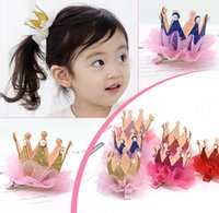 Wholesale Maternity Clips - 50Pcs Lot 6Colors Kids Maternity Hair Accessories Shinny Tiaras Design Barrettes Baby Snap Clip Children's Hairclip 2016 July Style