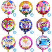 Wholesale Helium Balloon Party - 18 inch Happy Birthday Heart Air Balls Aluminum Foil Balloons Party Decorations Kids Helium Ballon Party Supplies OOA2436