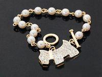 Wholesale Dog Bling Charms - Golden Cute Bling Rhinestone Pearl Dog Link Charm Bracelet Pearl Dog Pendant Bracelet Love Bracelet Jewelry