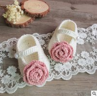 Wholesale Handmade Wool Shoes - Baby shoes infant buckle shoes wool Knitting stereo flower socks Baby Crochet handmade shoe Walking Shoes mixed colors first walker T5000