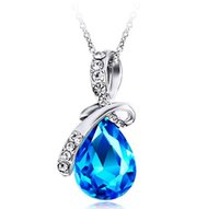Wholesale July Party - 10Pcs Lot High Quality Austria Crystal Angel Tear Pendant Necklace Platinum Plated Women Jewelry 2016 July Style In Stock
