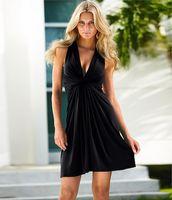 Wholesale Cheap Led Ribbon - 2016 Summer Work Cheap Woman Sleeveless Split Joint Tie V Lead Sexy Casual Chiffon Beach Maxi Dress Long Sleeves Bodycon Dresses