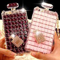 Wholesale galaxy perfume resale online - Luxury Bling Diamond Perfume Bottle Case TPU Soft Chian Case For Samsung Galaxy S5 S6 S7 S7 Edge Plus Note iphone s Plus