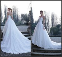 Wholesale Modest Wedding Dress Free Shipping - Modest Wedding Dresses Chaple Train Lace Up Back Sleeveless Fashion Wonderful Free Shipping Sweetheart Neck Appliques Long Gown Cheap