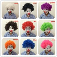 Wholesale Masquerade Fans - Colorful Fans Wig and Red Nose Clown Mask set Cosplay Party Masks full face masquerade Party Mask Halloween Costume mix color free shipping