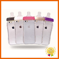 Wholesale Chinese Bottle Covers - Cute Baby Pacifier Milk Bottle Clear Cellphone Case Shockproof Phonec Cover For Apple iPhone 5 5S 6 6S Plus