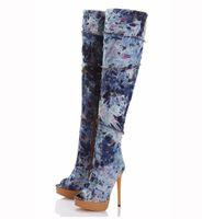 Wholesale Plush Easter Peeps - Womens Cowboy Boots 2016 Ladies Peep Toe Zip Platform Denim Knee High Boots Handmade High Heel Long Botas Size 34 44 Plus Size