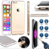 Wholesale Iphone Skin Screen Protectors - For iPhone 5 5S SE 6 6s 7 Plus 4.7 5.5 Tempered Glass Screen Protector + Clear Crystal Ultra Thin TPU Gel Jelly Skin Case Cover