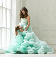 ingrosso il cristallo veste i branelli dell'increspatura di sera-Mint verde splendido Prom Dresses Handmade Ruffles perline di cenere Cristalli Celebrity Pageant Dress For Teens Tulle Layered Beach Abiti da sera
