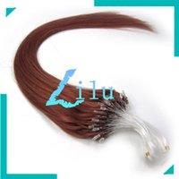 """Wholesale auburn micro loop hair extensions - Wholesale-20"""" 50cm Natural Silky Straight Micro Loop Ring Beads Hair Extension #33 dark auburn,100s"""