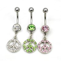 Wholesale Wholesale Peace Jewelry - 0213 The peace new style 077-01 piercing body jewelry Belly Button Navel Rings with clear stone