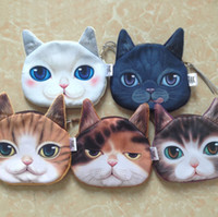 Wholesale kids cat makeup for sale - Group buy Cute Mini D Cat Bag Animal Face Purse Coin Bag Kids Wallet Makeup Handbags Clutch Pouch Colors Keys Phone Holder Bags