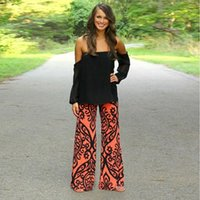 Wholesale Womens Loose Print Pants - 1Pc Summer Fashion Womens Floral Printed Casual Wide Leg Pants Long Stretch Straight Loose Bohemian Palazzo Trousers
