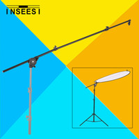 """Wholesale Head Boom - Wholesale- 26""""-69"""" Photo Studio Photography Reflector Diffuser Holder Stand Boom Arm Support & Clip Flexible Swivel Grip Head Clamp"""