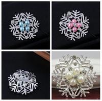 alfileres congelados al por mayor-Venta caliente Frozen Snowflake Broche de Plata Rhinestone Aleación de Cristal Broches de Navidad de dibujos animados Pins Moda Flores de Perlas Joyería de Fiesta de Boda
