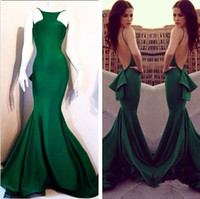 Wholesale One Shoulder Special Occasion Gown - Fast Shipping Mermaid Prom Dresses Spaghetti Straps Satin vestidos de noiva Open Back Special Occasions Gowns Evening Dresses