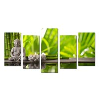 Wholesale Buddha Painting Green - Modern Canvas Wall Art 5 Panels Artwork Paintings For Living Room Home Decor Buddha Green Bamboo Stones Zen Prints and Posters Painting
