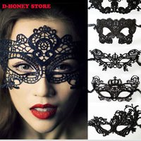 Wholesale Sexy Mask For Carnival - Black Women Sexy Lace Eye Mask Party Masks For Masquerade Halloween Venetian Costumes Carnival Mask For Anonymous Mardi