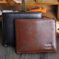 Wholesale Wholesale Designer Clutch Purses - Brand Vintage Mens Wallet Fine Bifold Brown PU Leather Money Clutches Purse Famous Quality Black Designer Wallet For Men Hot Sale Wholesale
