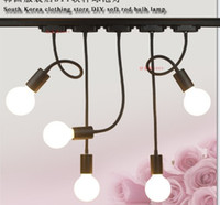 Wholesale Draw Lamp - LED hose track shoot E26 E27 lamp long rod bending light clothing stores according to draw the background wall track light
