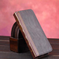 Wholesale Book Holder Phone Case - Retro The Bible Vintage Book Business Folio Leather Phone Case For iPhone 6 6s Flip Wallet Holder funda brown Back Cover
