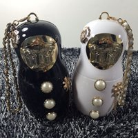 Wholesale pearls purses clutches - Baby Doll Evening Bags Pearl Handbag Brand C Designer Acrylic Clutch Purse Chain Messenger Shoulder Bags Metal Cute Figure Face WW