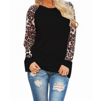 Wholesale Lace Bell Sleeves - Womens Blouses 2018 New Spring M-3XL Casual Shirt Long Sleeve Leopard Chiffon Patchwork Blusas Femininas Shirt