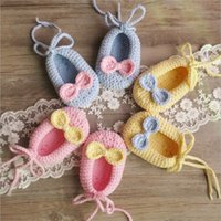 Wholesale Knitting Shoes For Babies - baby shoes Butterfly Knit Newborn First Shoes Autumn lace-up bows first walkers for Girls crochet soft bottom Babies shoes C1835