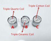 Wholesale Triple Coils - Triple Quartz Ceramic Rod Coil of D Core Wax Atomizer vaporizer Wax pen Double Core Head Rod D Core RDA vs dual coil E Cigarette Atomizer