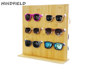 Wholesale Wood Glass Rack - Wholesale- HINDFIELD Original Bamboo Wood Glasses Display Shelf Fashion Sunglasses Racks For 5 Glasses Removable Counter Shop Display Stand