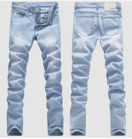 pies de blue jeans al por mayor-CALIENTE 2016 Al aire libre Vaquero Blanqueamiento Lavado Pies Casual Boom Elástico Lápiz Masculino Pantalones Denim Niños Hip Hop Azul claro Biker Jeans