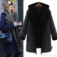 black chesterfield - The new autumn winter wo ol co at blue cotton coat hooded jacket of black women fashion color combination of a double breasted chesterfield