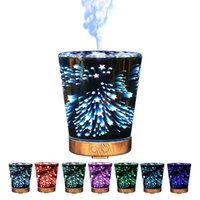 Wholesale Remote Controlled Spray - Desktop USB Essential Oil Diffuser Cone Shape Night Light Aroma Mist Spray Diffusers Stars 3D Humidifier Portable 125zk B R