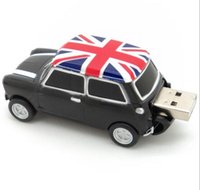 Wholesale Mini Car Flash Drive - Cool England BMW Mini cooper car shape model USB 2.0 32GB flash drive memory stick pendrive 8GB 16GB 32GB 64GB 100% Real Full
