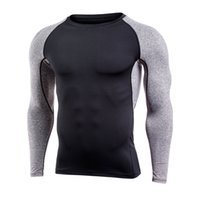 Wholesale athletic training clothing for sale - Group buy Brand Men Quick Dry Compression t Shirt Long Sleeve Training Basketball shirt Fitness Gym Clothing Athletic Exercise Sport Compression Shirt