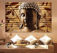 Wholesale wall panels buddha - 3pieces Classical Buddha Painting Solemn Buddhism Wall Canvas Art Asian Religion Ancient Picture For House Decoration