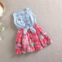Wholesale Tz Dress - Baby girl denim dress 2016 children sleeveless christmas girls dresses summer style kids princess flower dress TZ-A027