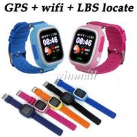 лучшие детские часы gps оптовых-Q90 смарт-часы дети GPS трекер + Wi-Fi 1.22-дюймовый сенсорный экран поддержка 2G SIM-карты Se Tracker приложение лучший подарок для детей